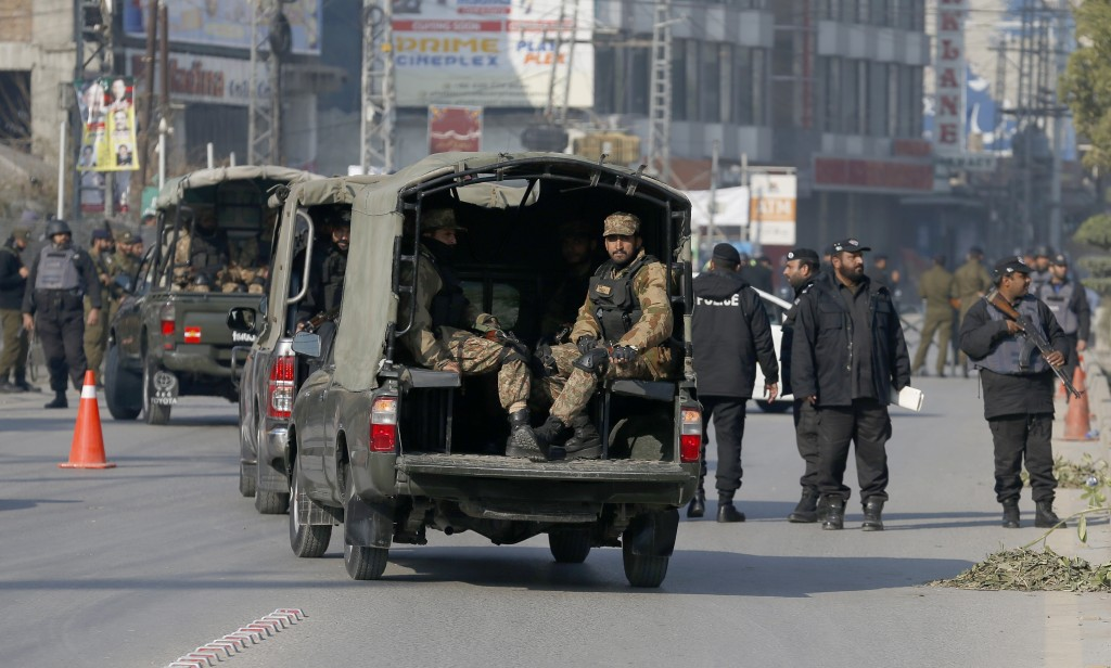 Army soldiers and police commandos patrol the vicinity of Pindi Cricket Stadium where Bangladesh cricket team attending practice session in Rawalpindi...