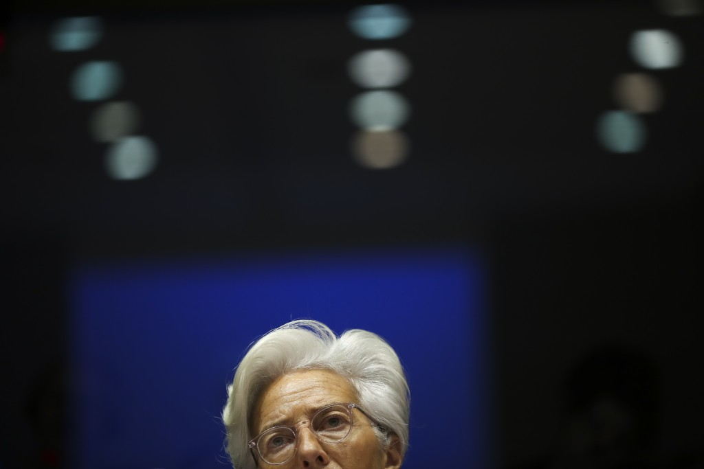 European Central Bank President Christine Lagarde addresses European Parliament lawmakers during a monetary dialogue meeting at the European Parliamen...