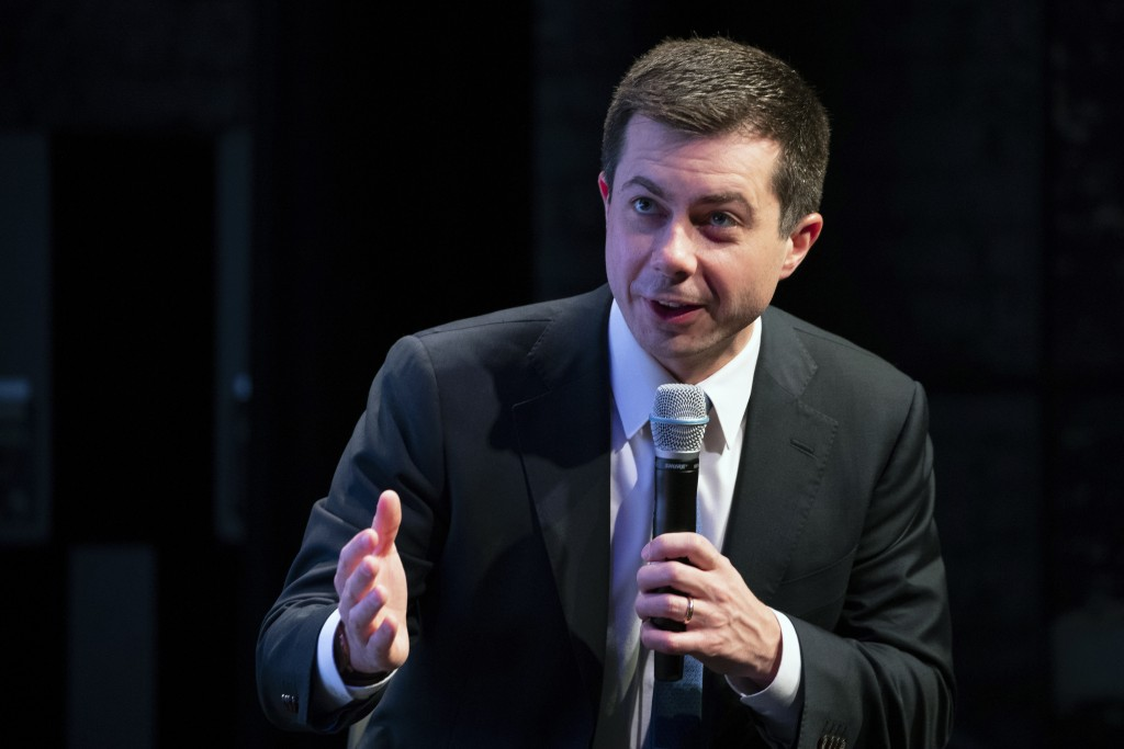 Democratic presidential candidate former South Bend, Ind., Mayor Pete Buttigieg speaks during the New Hampshire Youth Climate and Clean Energy Town Ha...