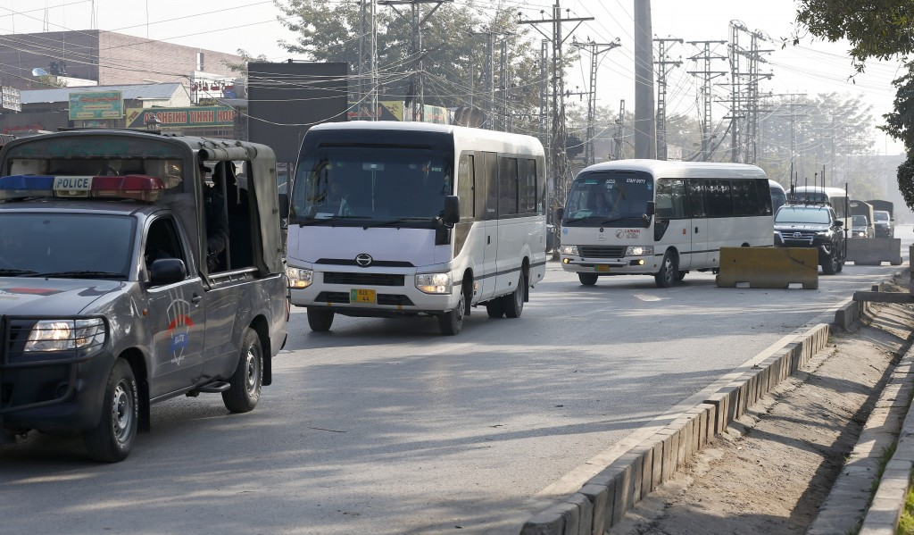 Police commandos escort vehicles carrying the Bangladesh cricket team arriving at the Pindi Cricket Stadium for a practice session in Rawalpindi, Paki...