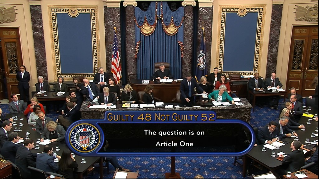 In this image from video, the vote total, 52-48 for not guilty, on the first article of impeachment, abuse of power, is displayed on screen during the...