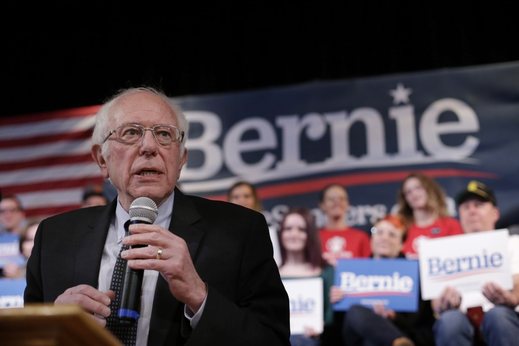 Democratic presidential candidate Sen. Bernie Sanders, I-Vt., speaks during a campaign rally, Wednesday, Feb. 5, 2020, in Derry, N.H. (AP Photo/Steven...