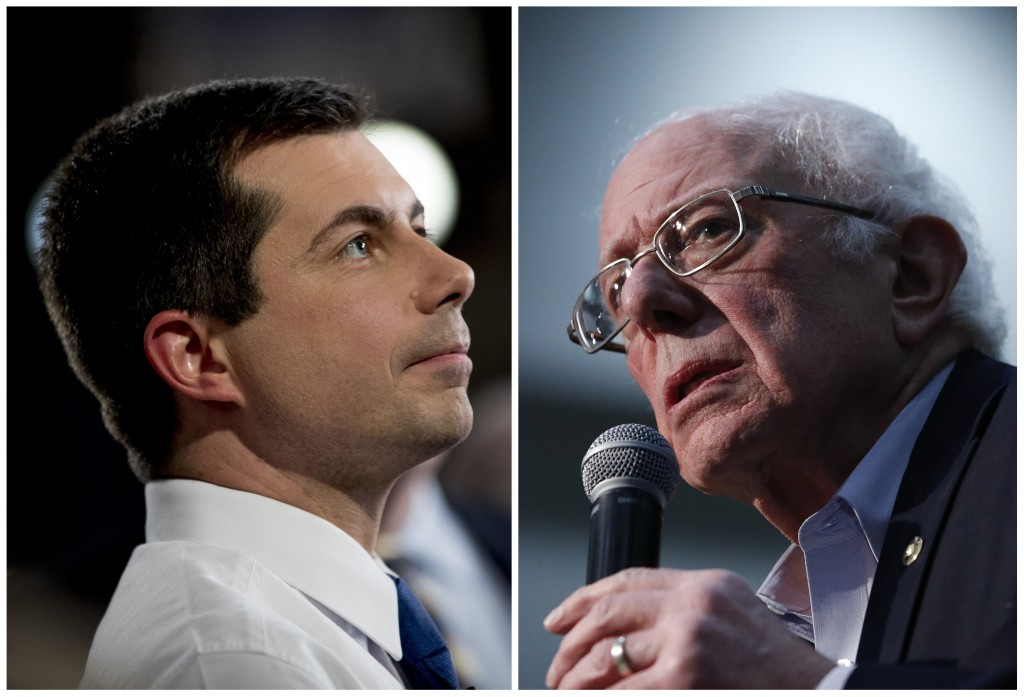 This combination of Jan. 26, 2020, photos shows at left, Democratic presidential candidate former South Bend, Ind., Mayor Pete Buttigieg on Jan. 26, 2...