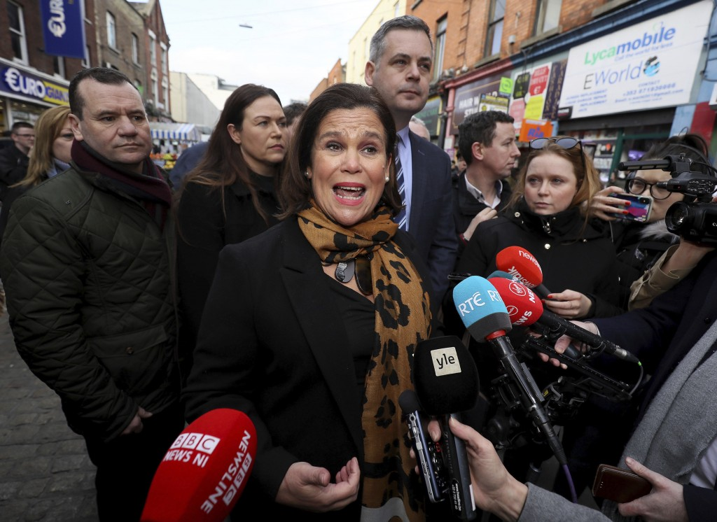 Sinn Fein leader Mary Lou McDonald speaks to the media during a walkabout in central Dublin, whilst on the General Election campaign trail on Thursday...