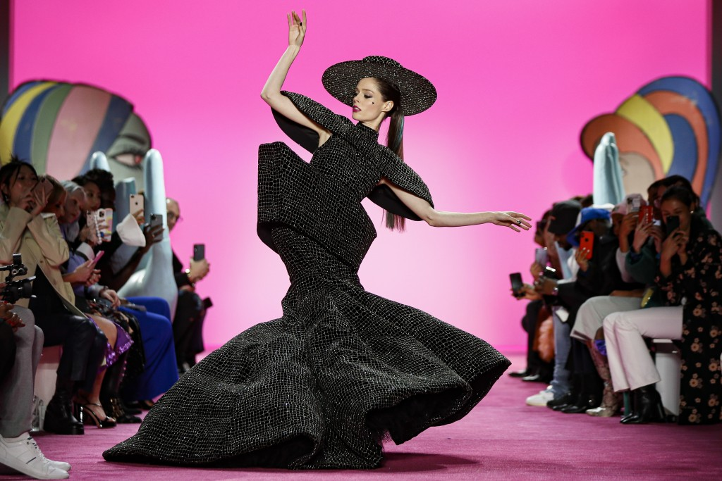Model Coco Rocha wears the final look of the Christian Siriano collection during Fashion Week, Thursday, Feb. 6, 2020, in New York. (AP Photo/John Min...