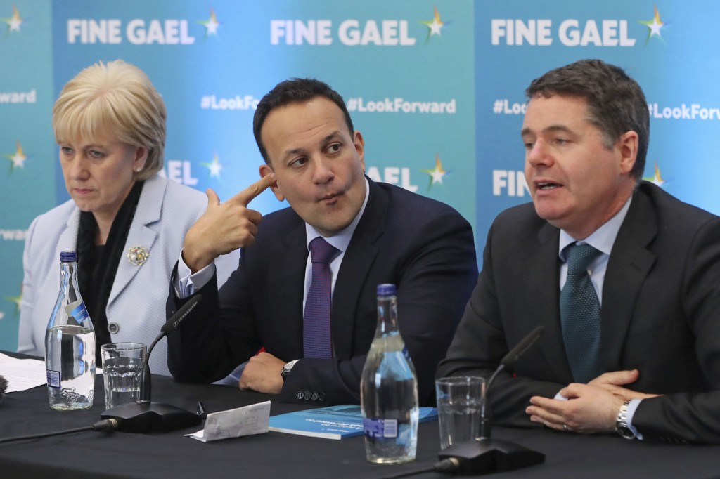 Ireland's Minister for Business, Enterprise, and Innovation Heather Humphreys, Prime Minister Leo Varadkar and Minister for Finance Paschal Donohoe, f...