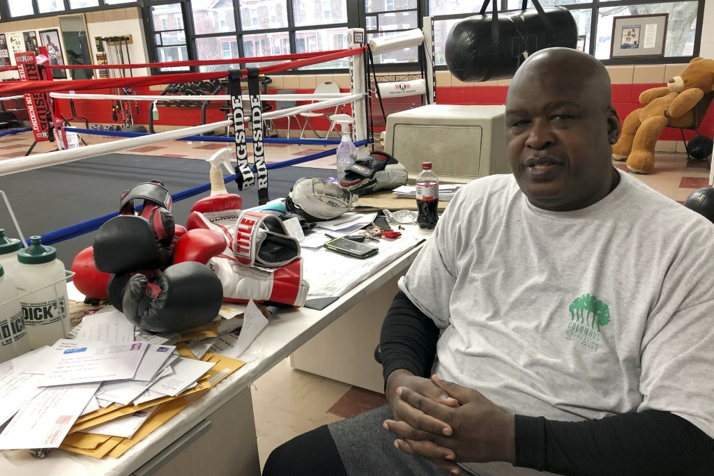 "In this Jan. 31, 2020 photo, James ""Buster"" Douglas, the former world heavyweight champion, sits at the Thompson Community Center in Columbus, Ohio, w..."