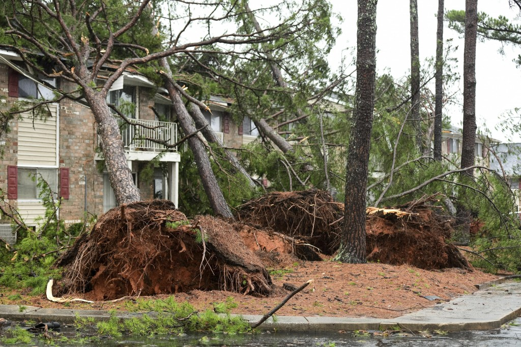 CORRECTS YEAR TO 2020 NOT 2019 - Fallen trees rest on an apartment complex damaged by high winds Thursday, Feb. 6, 2020, in Spartanburg, S.C. A powerf...