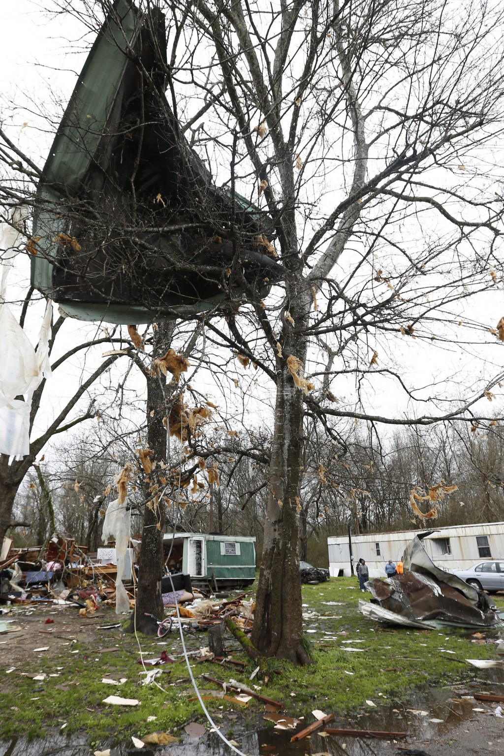Sheeting from a mobile home hangs in a tree in Pickens, Miss., Thursday, Feb. 6, 2020, after strong winds stripped it from the house Wednesday afterno...
