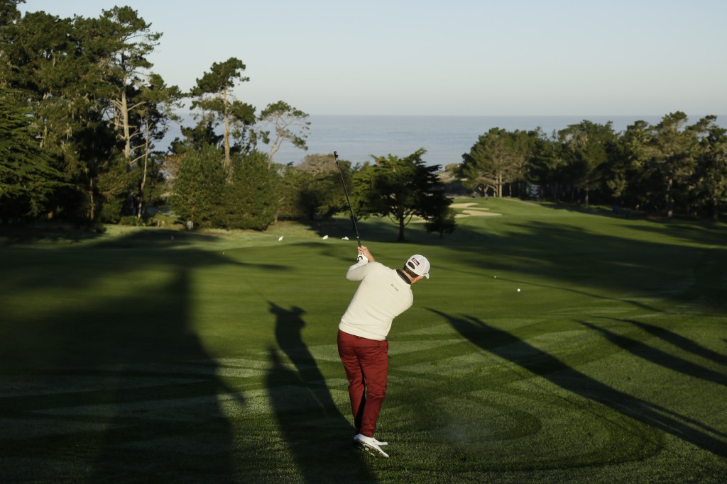 Patrick Cantlay hits from the first fairway during the first round of the AT&T Pebble Beach National Pro-Am golf tournament Thursday, Feb. 6, 2020, in...