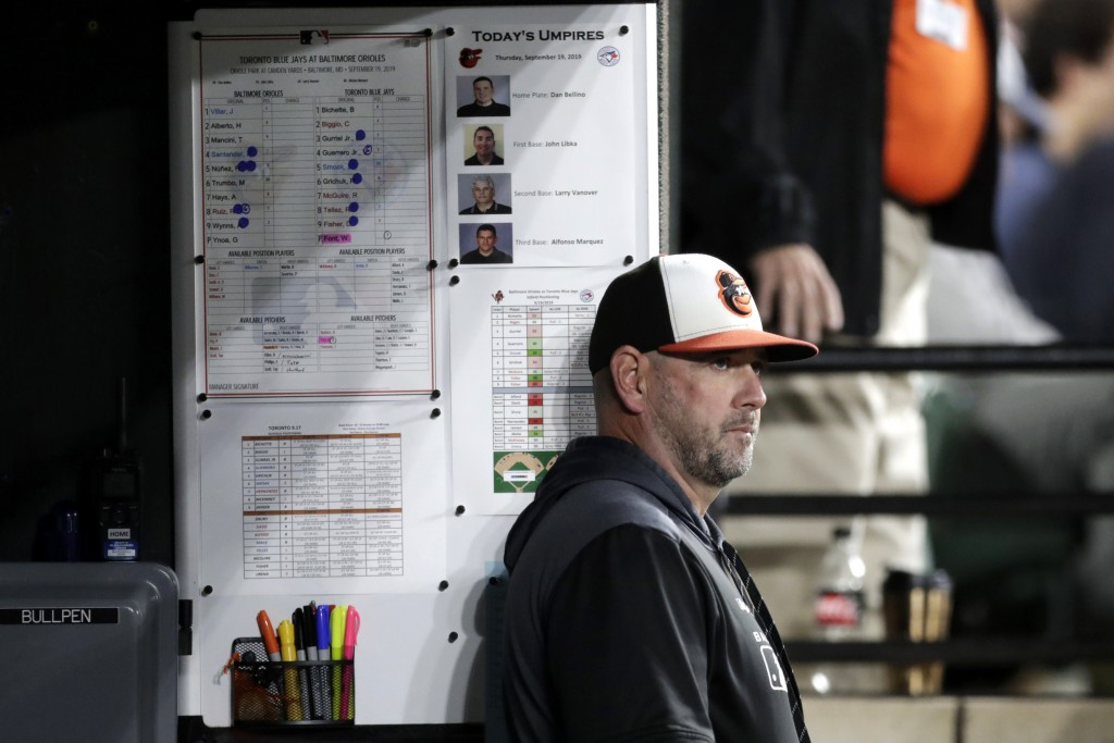 FILE - In this Sept. 19, 2019, file photo, Baltimore Orioles manager Brandon Hyde watches from the dugout during the seventh inning of a baseball game...