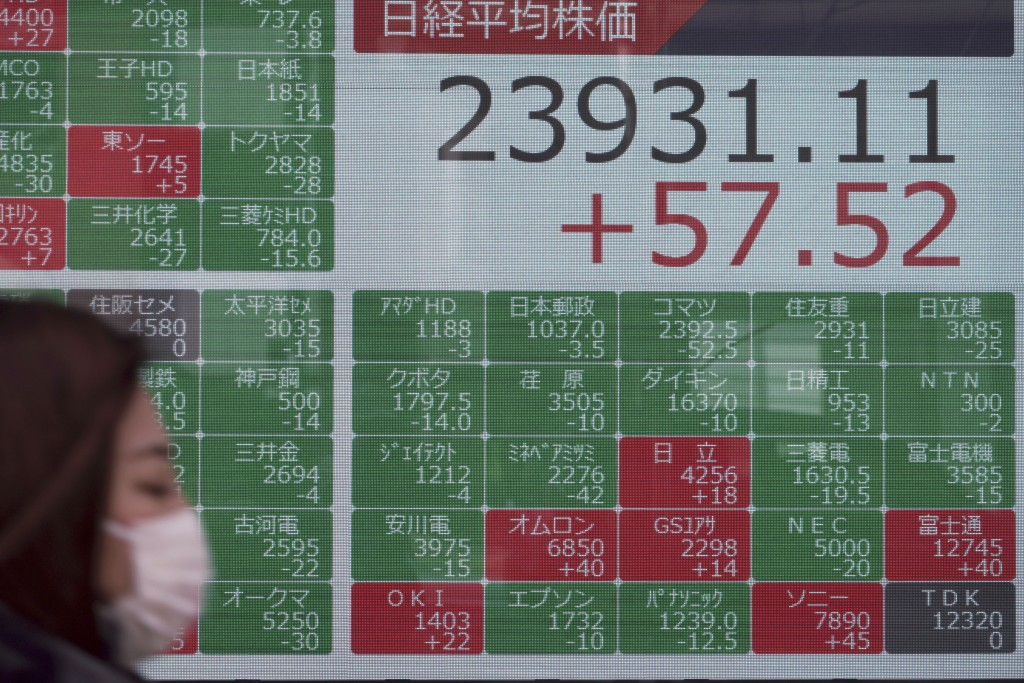 A woman walks past an electronic stock board showing Japan's Nikkei 225 index at a securities firm in Tokyo, Friday, Feb. 7, 2020. Asian stock markets...