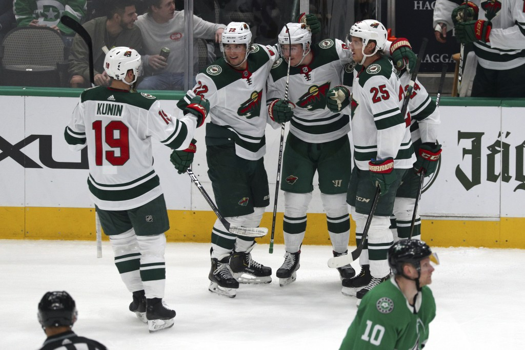 Minnesota Wild center Luke Kunin (19), left wing Kevin Fiala (22), center Ryan Donato (6), defenseman Matt Dumba (24) and defenseman Jonas Brodin (25)...