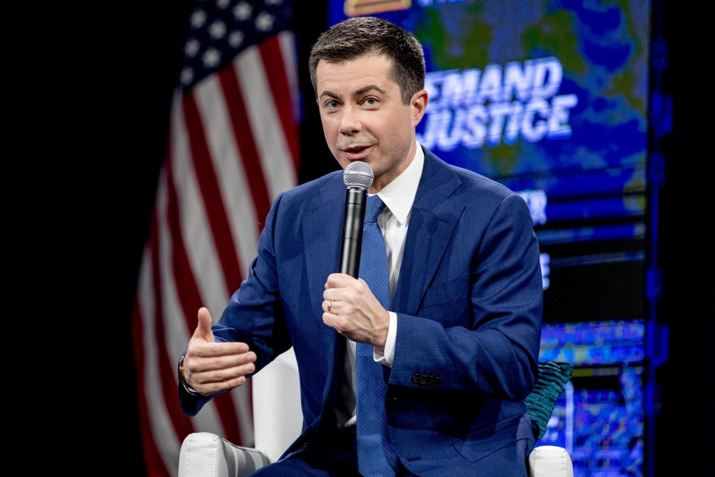 "Democratic presidential candidate former South Bend, Ind., Mayor Pete Buttigieg speaks at ""Our Rights, Our Courts"" forum at New Hampshire Technical In..."
