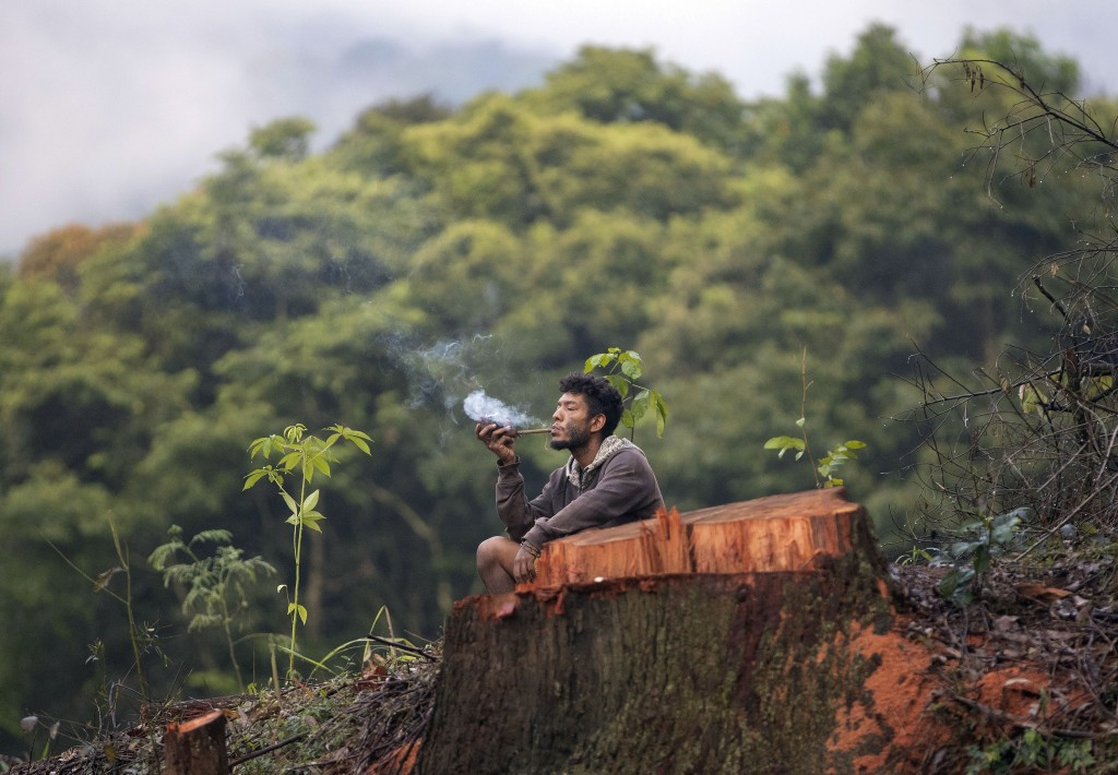 A Guarani Mbya man smokes a pipe next to a cut tree as he occupies land as a protest against real estate developer Tenda which plans to build apartmen...