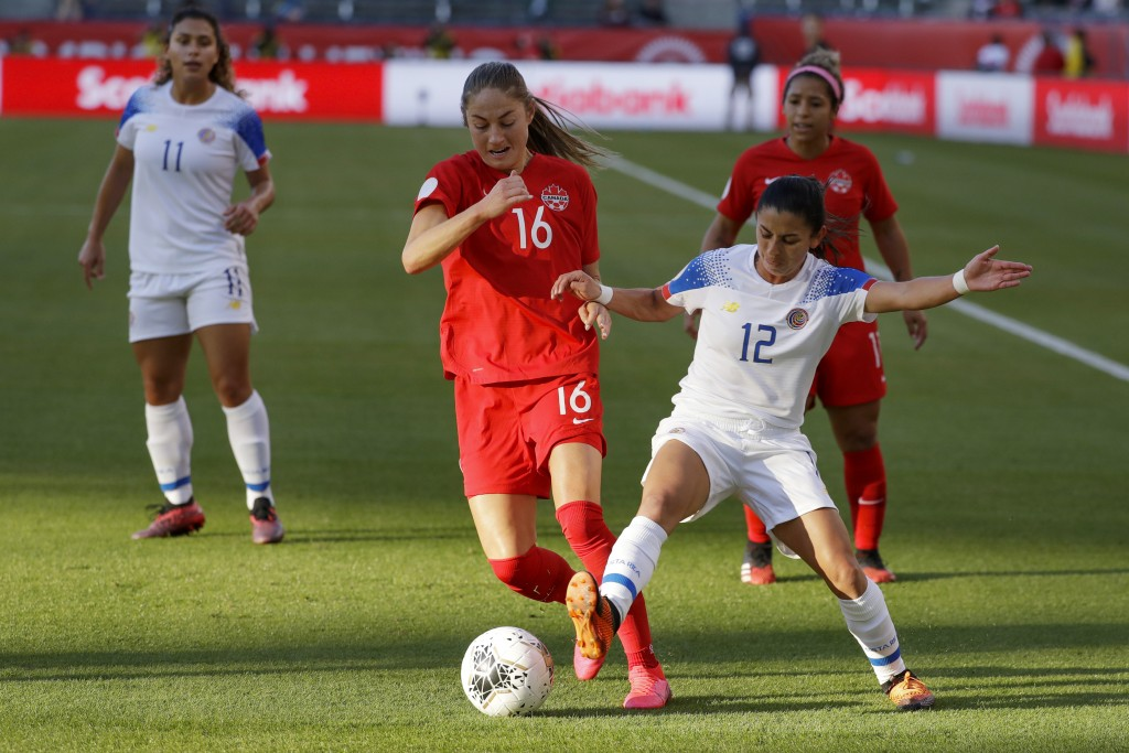 Costa Rica defender Lixy Rodriguez right vies for a the ball with Canada forward Janine Beckie during the first half of a CONACAF women's Olympic