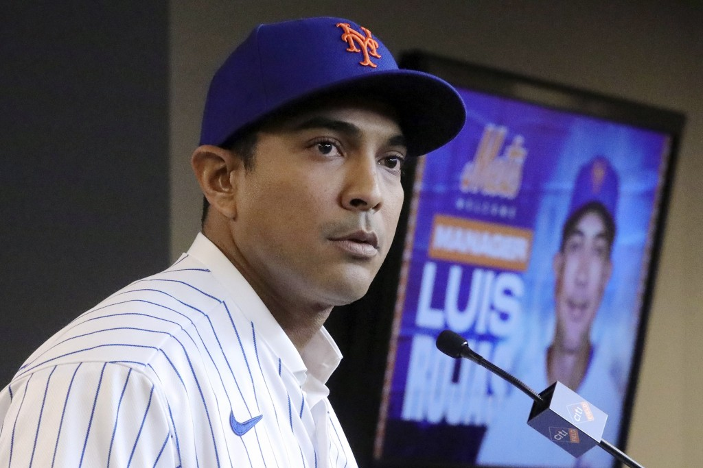 FILE - In this Jan. 24, 2020, file photo, New York Mets new manager Luis Rojas speaks during a baseball news conference after his introduction in New ...
