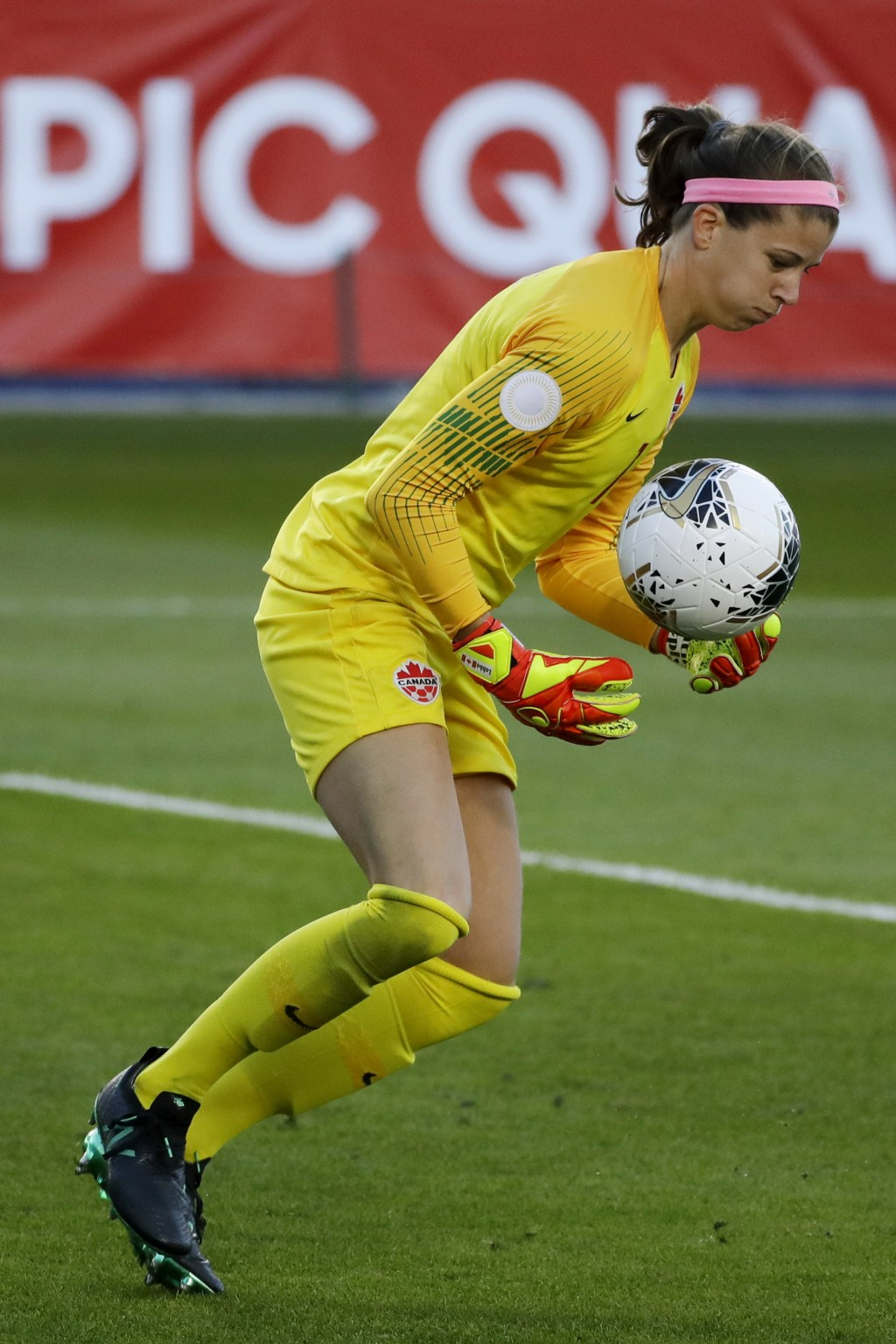 Canada goalkeeper Stephanie Labbe makes a save against Costa Rica during the first half of a CONACAF women's Olympic qualifying soccer match Friday, F...