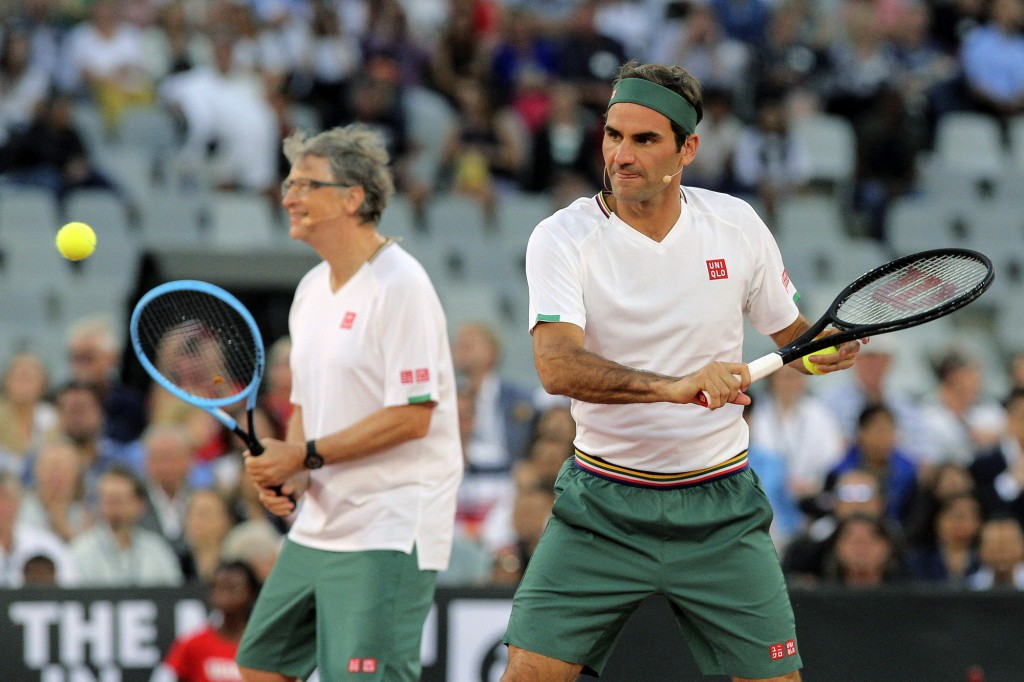 Roger Federer and Bill Gates take on Rafael Nadal and Trevor Noah in the exhibition match held at the Cape Town Stadium in Cape Town, South Africa, Fr...