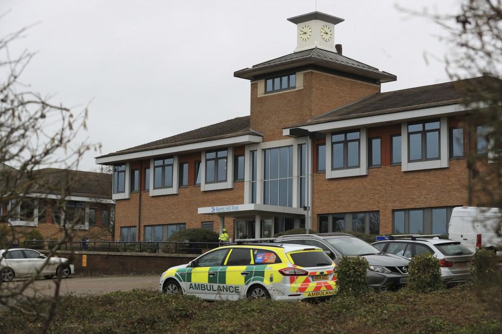 Kents Hill Park Training and Conference Centre, in Milton Keynes, England, Sunday Feb. 9, 2020, ahead of the repatriation to the UK of the latest Coro...