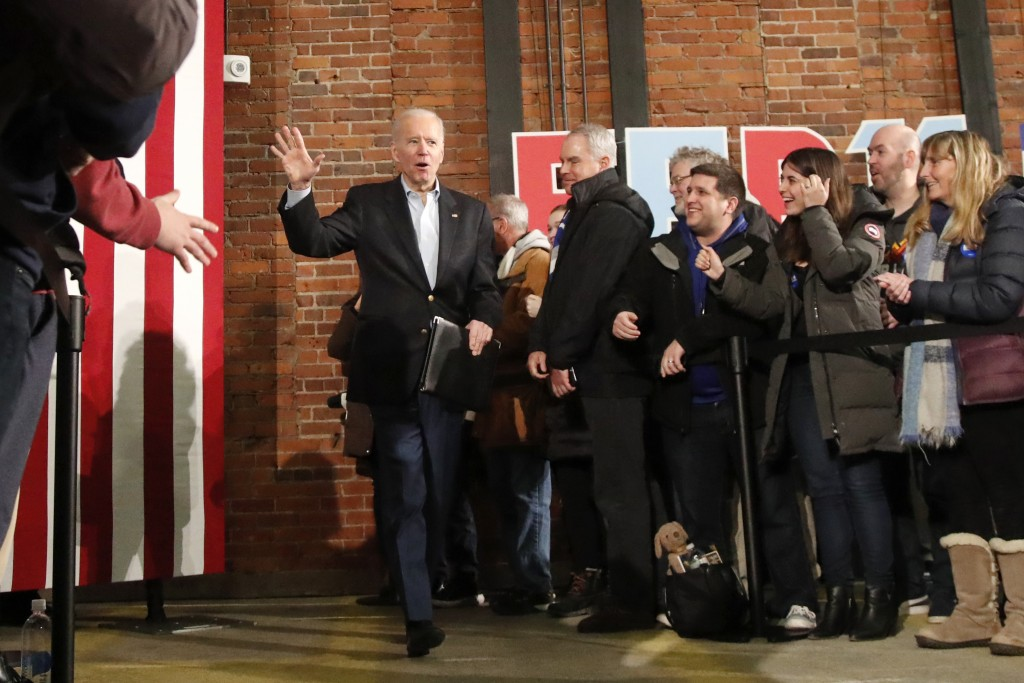 Democratic presidential candidate former Vice President Joe Biden arrives at a campaign event, Saturday, Feb. 8, 2020, in Manchester, N.H. (AP Photo/E...