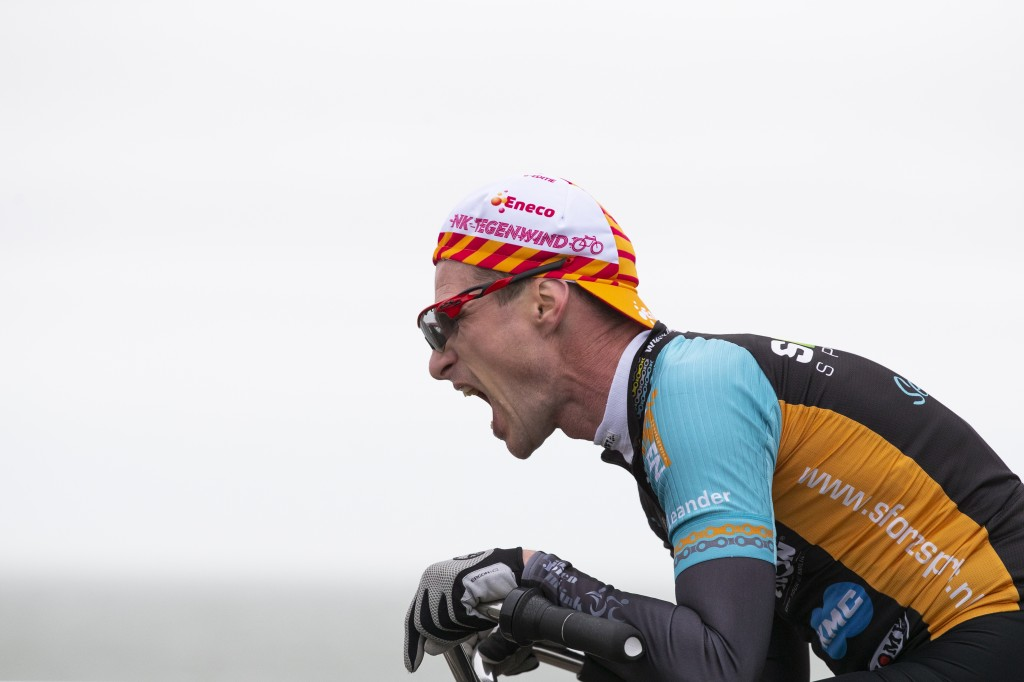 A competitor battles gale force winds during the Dutch Headwind Cycling Championships on the storm barrier Oosterscheldekering near Neeltje Jans, sout...