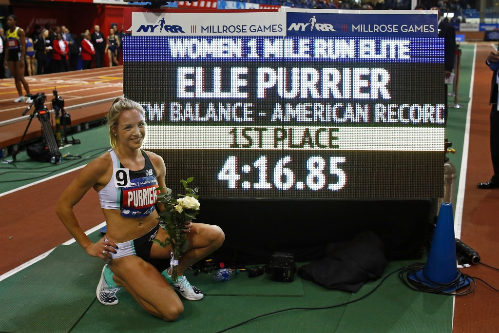 Elle Purrier after winning the NYRR Wanamaker Mile set a new American Record at the Millrose Games track and field meet Saturday, Feb. 8, 2020, in New...