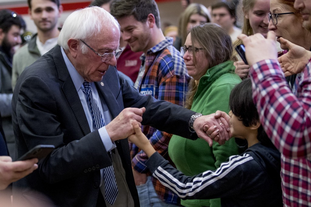 Democratic presidential candidate Sen. Bernie Sanders, I-Vt., greets members of the audience after speaking at a campaign stop at Stevens High School,...