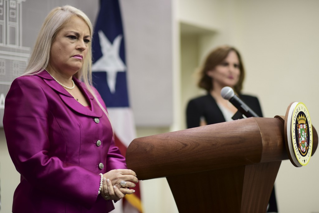 FILE - In this Aug. 21, 2019 file photo, Puerto Rico's Governor Wanda Vazquez holds a press conference to announce new administrative appointments at ...
