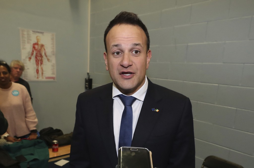 Fine Gael leader Leo Varadkar speaks to the media as he arrives for the the Irish General Election count at Phibblestown Community Centre in Dublin Su...
