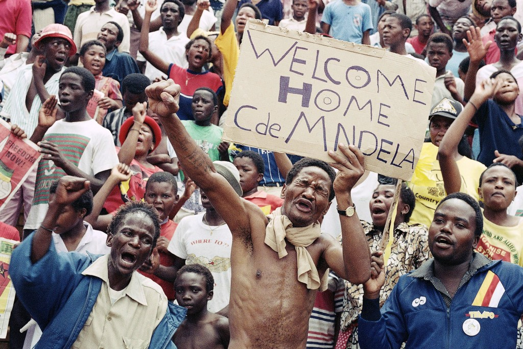 FILE - In this Feb. 11, 1990 file photo, Nelson Mandela's release from prison in Cape Town, is celebrated in Soweto, South Africa. Mandela's release s...