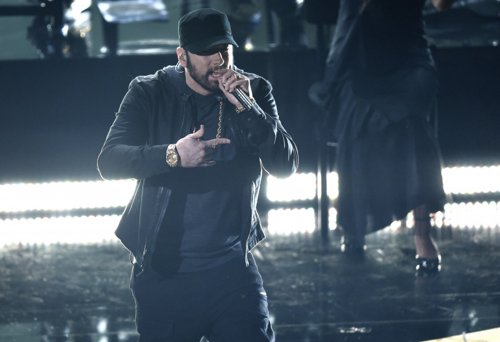 "Eminem performs ""Lose Yourself"" at the Oscars on Sunday, Feb. 9, 2020, at the Dolby Theatre in Los Angeles. (AP Photo/Chris Pizzello)"