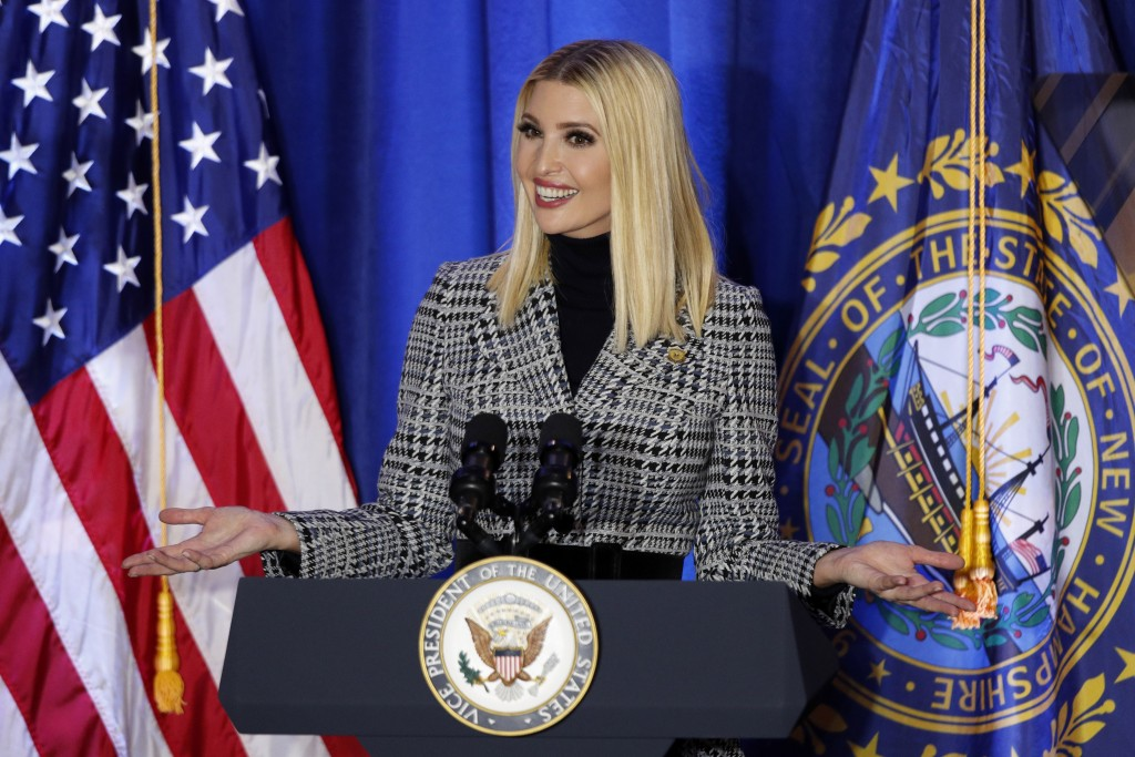 President Donald Trump's senior adviser and daughter, Ivanka Trump, speaks at a Cops for Trump campaign rally, Monday, Feb. 10, 2020, in Portsmouth, N...
