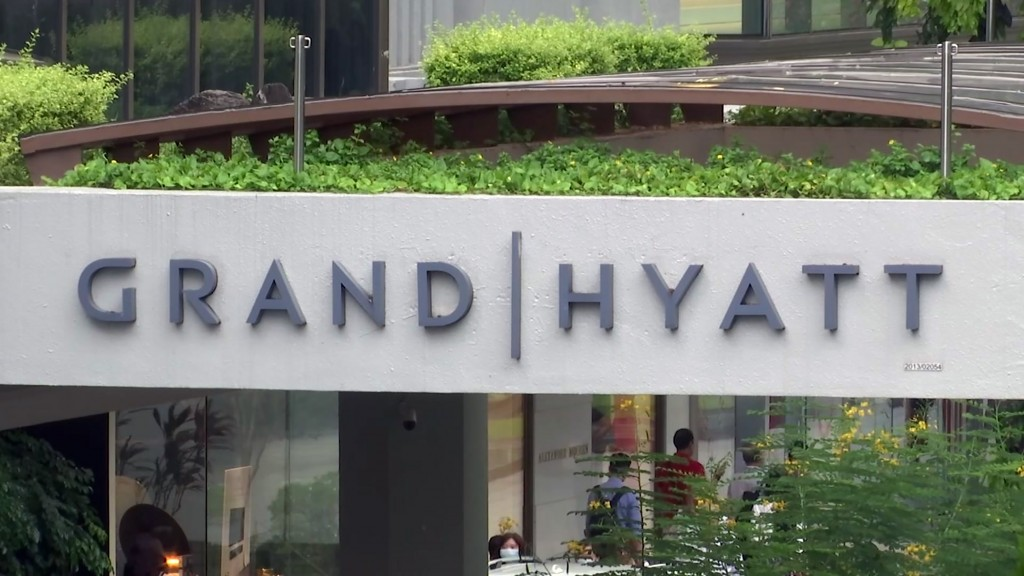 This image made from video shows the exterior of the Grand Hyatt hotel in Singapore, Monday, Feb. 10, 2020. A middle-aged businessman from southern En...