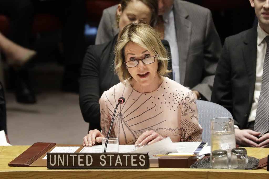 United States ambassador to the United Nations Kelly Craft speaks during a Security Council meeting at United Nations headquarters, Tuesday, Feb. 11, ...