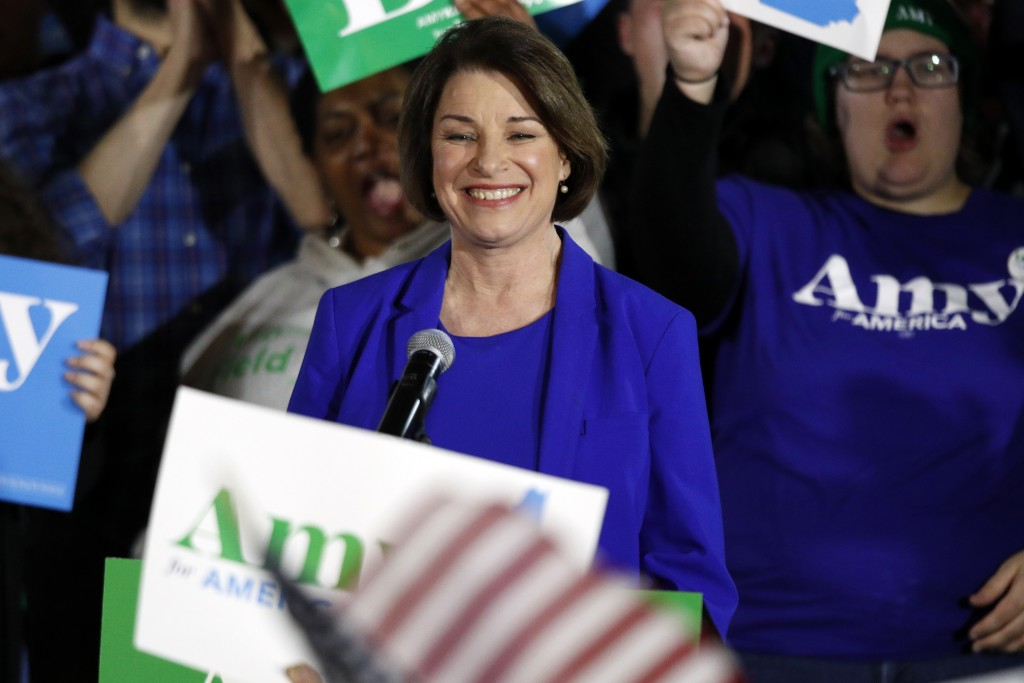 Democratic presidential candidate Sen. Amy Klobuchar, D-Minn., speaks at her election night party, Tuesday, Feb. 11, 2020, in Concord, N.H. (AP Photo/...