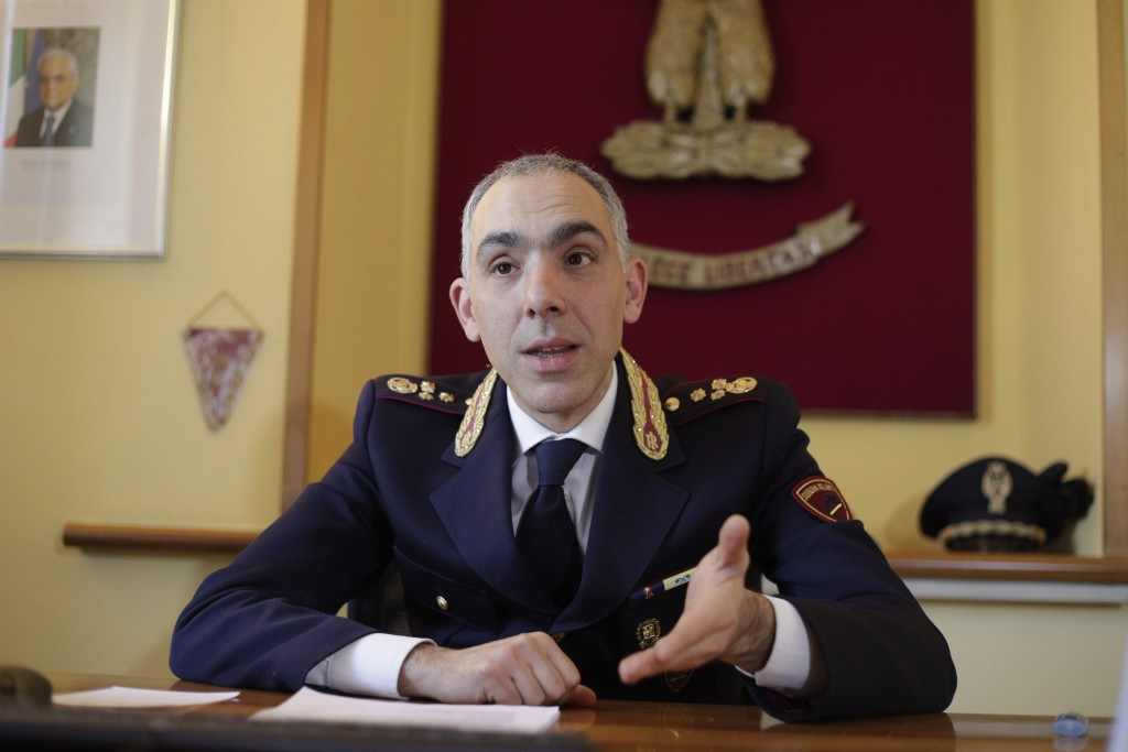 Italian Police top officer Marco Sangiovanni meets the media in Rome, Friday, Feb. 14, 2020. An American woman wanted in the 2002 death of her husband...