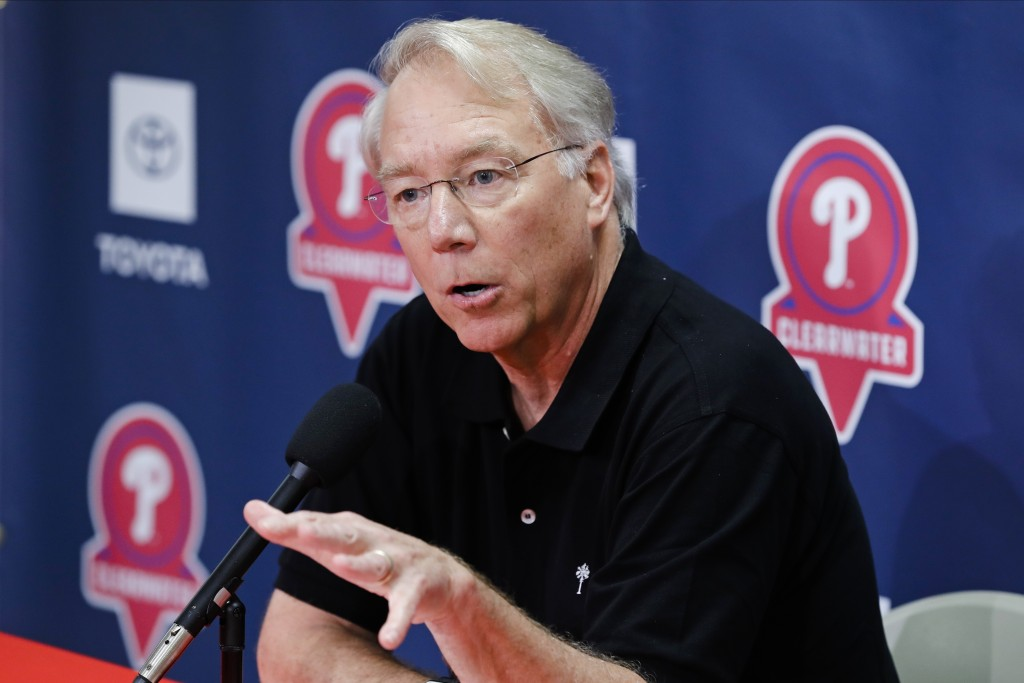 Philadelphia Phillies president Andy McPhail speaks during a news conference after a spring training baseball workout Friday, Feb. 14, 2020, in Clearw...