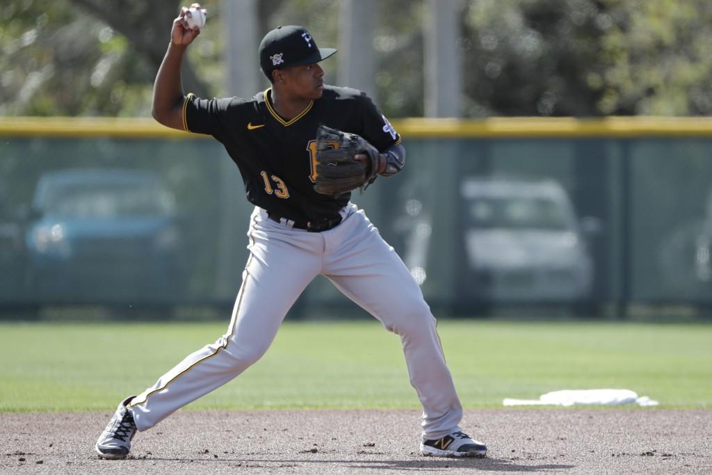 Pittsburgh Pirates' Ke'Bryan Hayes throws to second base during a spring training baseball workout Monday, Feb. 17, 2020, in Bradenton, Fla. (AP Photo...