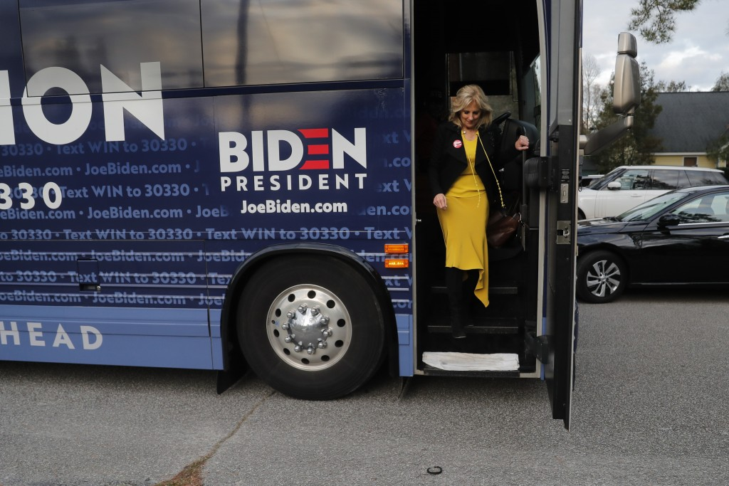 Jill Biden, wife of Democratic presidential candidate and former Vice President Joe Biden, arrives to speak at a campaign event at the home of state S...