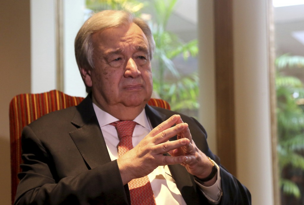 U.N. Secretary General Antonio Guterres speaks to The Associated Press, in Lahore, Pakistan, Tuesday, Feb. 18, 2020. Guterres said Tuesday that the co...