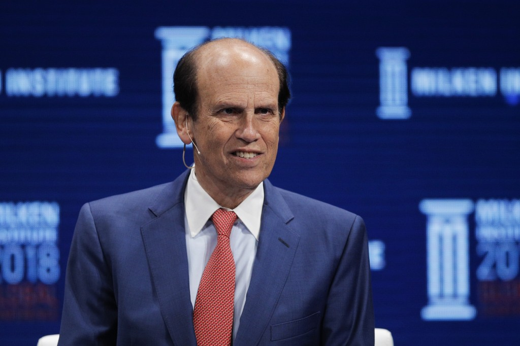 FILE - In this April 30, 2018, file photo,  financier Michael Milken leads a discussion at the Milken Institute Global Conference in Beverly Hills, Ca...