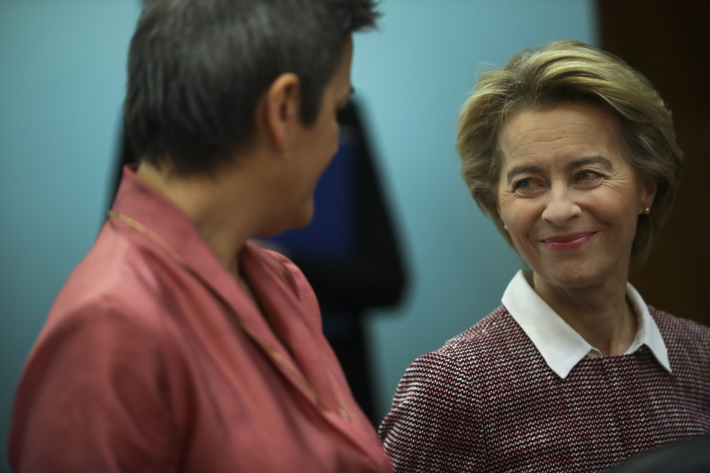 Eeuropean Commission President Ursula von der Leyen, right, talks to Commissioner for Europe Fit for the Digital Age Margrethe Vestager during a weekl...