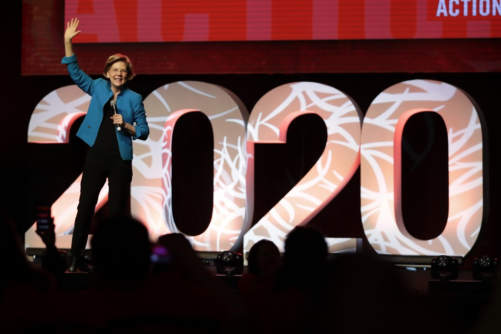 """Democratic presidential candidate Sen. Elizabeth Warren, D-Mass., speaks at a """"Care In Action"""" campaign rally, Tuesday, Feb. 18, 2020, in Las Vegas. (..."""