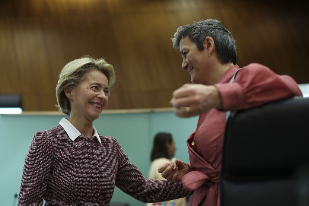 Eeuropean Commission President Ursula von der Leyen, left, talks to Commissioner for Europe Fit for the Digital Age Margrethe Vestager during a weekly...