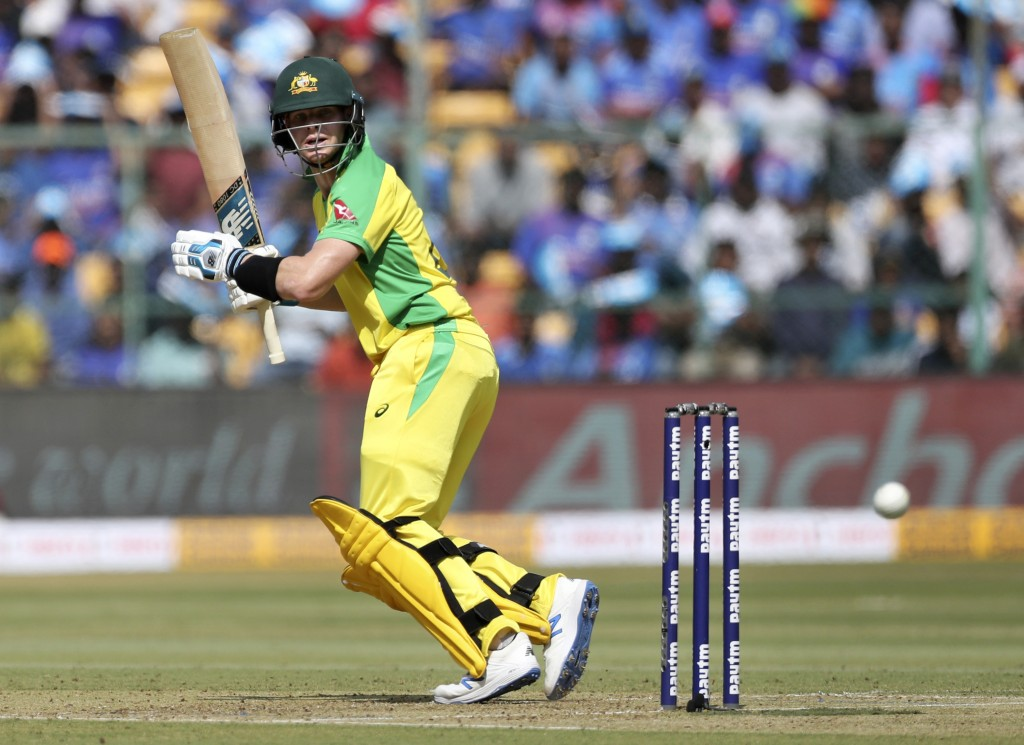FILE - In this Sunday, Jan. 19, 2020 file photo, Australia's Steven Smith bats during the third one-day international cricket match between India and ...