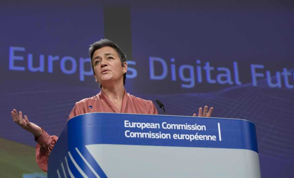 European Commissioner for Europe fit for the Digital Age Margrethe Vestager speaks during a presentation on Europe's Digital Future at EU headquarters...