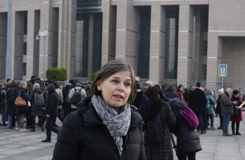 Emma Sinclair Webb, Human Rights Watch Senior Turkey Researcher, speaks to the media before the trial of the Amnesty International's former Turkey cha...