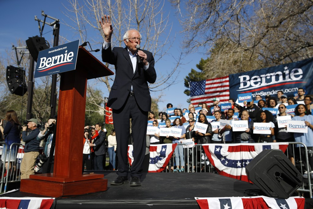 Democratic presidential candidate Sen. Bernie Sanders, I-Vt., speaks during a campaign event at the University of Nevada, Las Vegas, Tuesday, Feb. 18,...