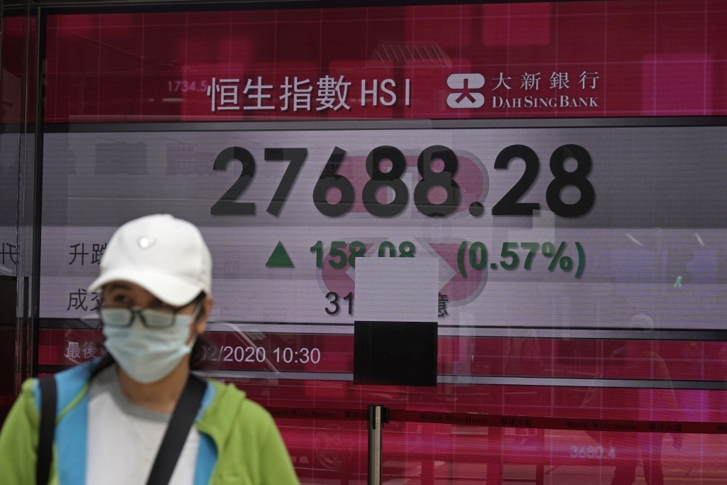 A woman walks past an electronic board showing Hong Kong share index outside a local bank in Hong Kong, Wednesday, Feb. 19, 2020. Asian shares are mos...